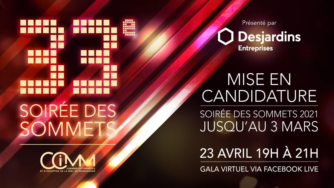 Soirée des Sommets 2021 Mise en candidature présentée par Desjardins Entreprises